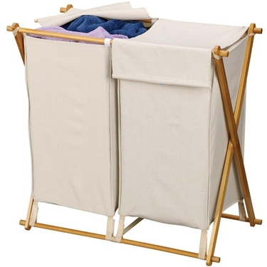 X-Framed Double Wood & Canvas Hamper by Household Essentials