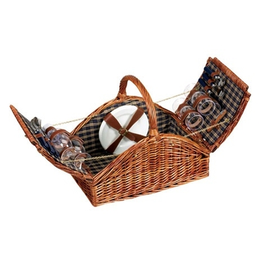 Double Lidded Willow Picnic Basket by Household Essentials