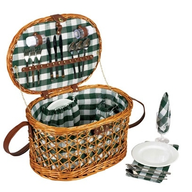 Open Weave Willow Picnic Basket by Household Essentials