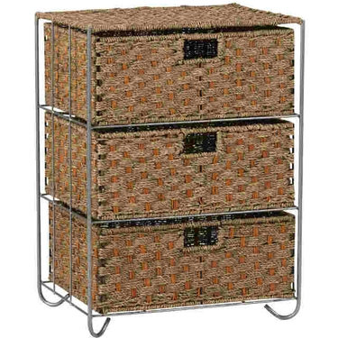 Seagrass and Rattan 3-Drawer Chest by Household Essentials