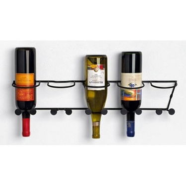 Horizontal 5-Bottle Wall Mount Wine Rack in Black