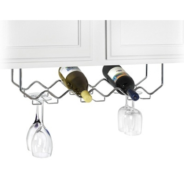 Chrome Under Cabinet Wine Rack with Stemware Holder by Spectrum