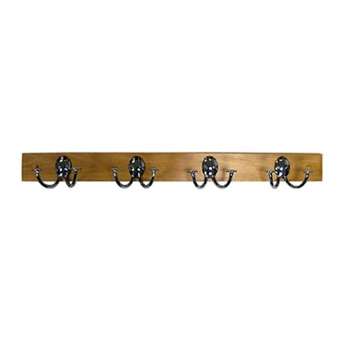 Maple Wood Wall Rack With 4-Chrome Double Hooks