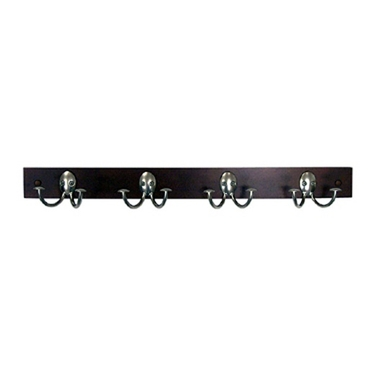 Walnut Wood Wall Rack With 4-Satin Nickel Double Hooks