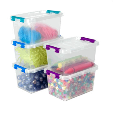 Small Plastic Storage Boxes with Lids - Set of 5 Flip Boxes by Dial