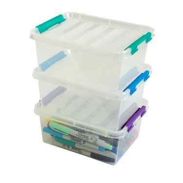 Medium Plastic Storage Boxes with Lids - Set of 3 Flip boxes by Dial