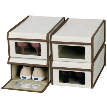Large Canvas Vision Shoe Boxes by Household Essentials- Set of 4