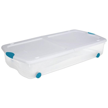 Sterilite 67 Quart Wheeled Underbed Latch Box with See-Through Base