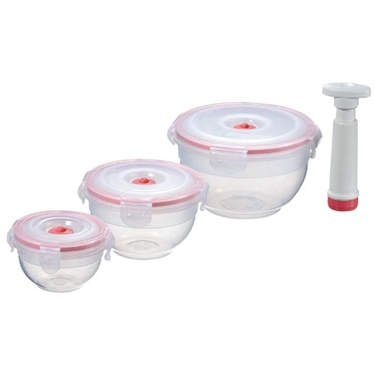 Vacuum Sealed Food Storage Containers by Zevro - Set of 3