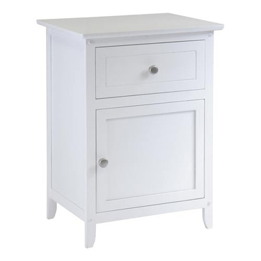 End Table with Drawer and Storage Cabinet - White