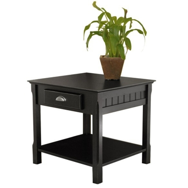 Timber End Table with Drawer and Shelf in Black by Winsome Wood