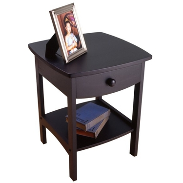 Curved End Table or Night Stand with Drawer in Black by Winsome Wood