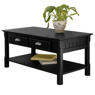 Timber Coffee Table with Drawers and Shelf in Black by Winsome Wood