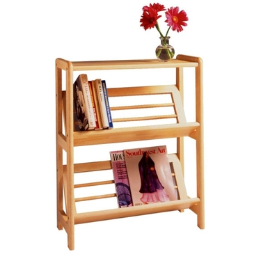 Beechwood Bookshelf with Slanted Shelves by Winsome Wood