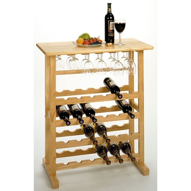 Wine Rack with Glass Rack by Winsome Wood