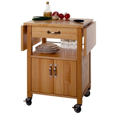 Double Drop Leaf Kitchen Cart With Cabinet and Shelf by Winsome Wood