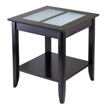 Syrah End Table with Frosted Glass in Espresso by Winsome Wood