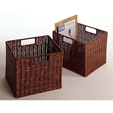 Leo Set of 2; Small Wicker Basket Set by Winsome Wood