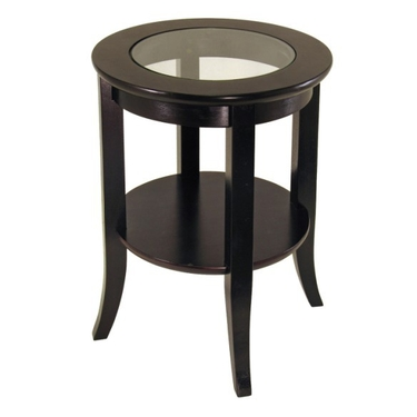 Genoa End Table with Glass Inset and Bottom Shelf - Espresso