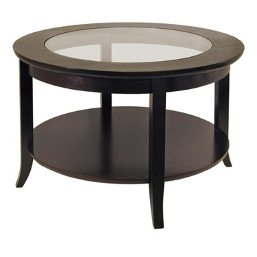 Genoa Coffee Table with Glass Inset & Bottom Shelf - Espresso