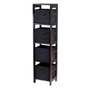 Capri 4-Section Storage Shelf with 4 Foldable Fabric Baskets