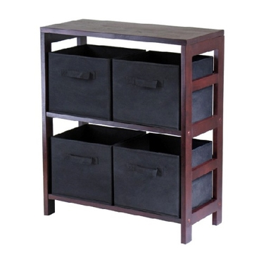 Capri 2-Section Storage Shelf with 4 Foldable Fabric Baskets