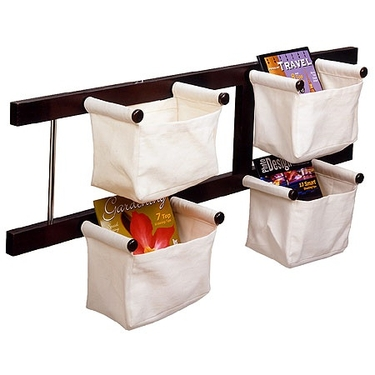 Wall Mount Canvas Basket Storage Rack by Winsome Wood