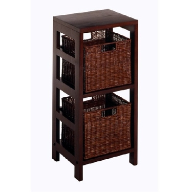 Leo 3-PC Storage Shelf - 1 Shelf Unit with 2 Small Baskets