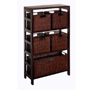 Leo 6-PC Shelf and Baskets - 1 Shelf Unit, 5 Baskets