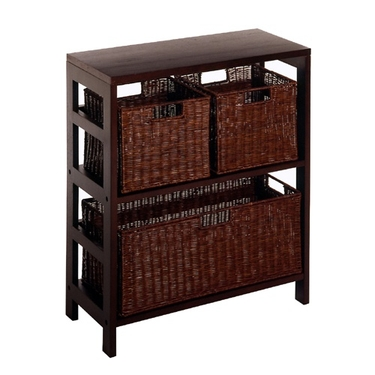 Leo Wood and Rattan 2-Tier Shelf with 3-Rattan Baskets by Winsome Wood