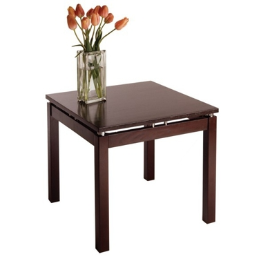Linea End Table with Chrome Accents by Winsome Wood