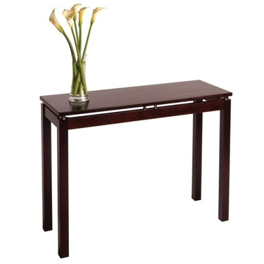 Linea Console-Hall Table with Chrome Accents - Espresso