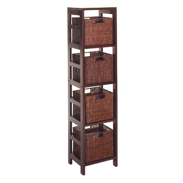 Leo Wood and Rattan 4-Tier Shelf with 4-Rattan Baskets by Winsome Wood