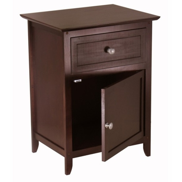Night Stand with Drawer and Storage Cabinet in Espresso by Winsome Wood