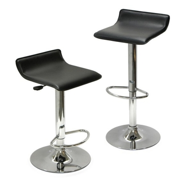 Set of 2 Adjustable Air Lift Stools - Faux Leather & Chrome
