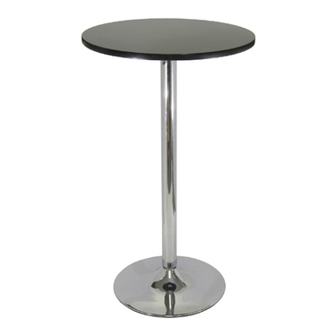 Spectrum 24'' Round Pub Table-Black and Chrome by Winsome Wood