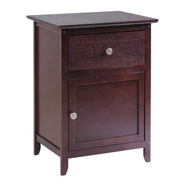 Night Stand with Drawer & Storage Cabinet - Antique Walnut