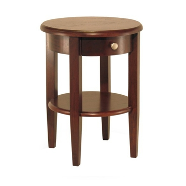 Concord Round End Table with Drawer and Shelf - Antique Walnut