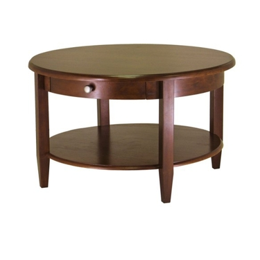 Round Coffee Table with Drawer & Shelf - Antique Walnut