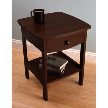Curved End Table/Night Stand with Drawer - Antique Walnut