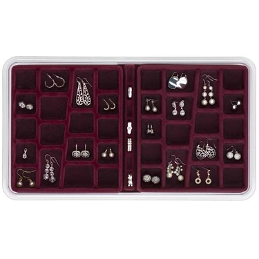 36 Compartment Burgundy Jewelry Stax By Neatnix
