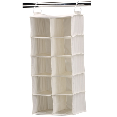Canvas 10 Shelf Double Hanging Shoe Organizer