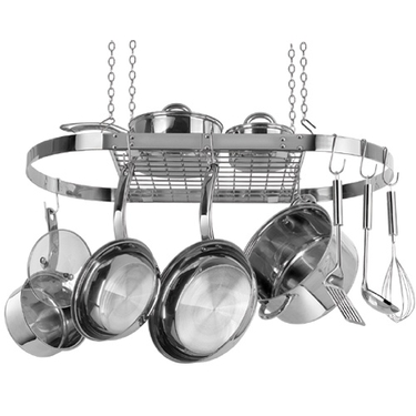Oval Hanging Pot Rack by Range Kleen in Stainless Steel