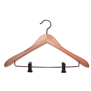 Deluxe Cedar Suit Hangers with Clips - Set of 12