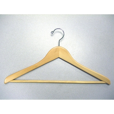 Gemini White Wood Hangers With Bar in - Set of 50