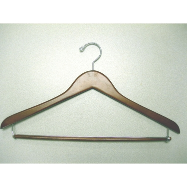Genesis Suit Hangers With Locking Bar in Light Walnut - Set of 50