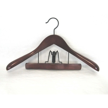 Deluxe Wood Suit Hanger with Trouser Clamp- Mahogany - Set of 12