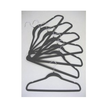 Velvet Plastic Coat Hangers in Black - Set of 100