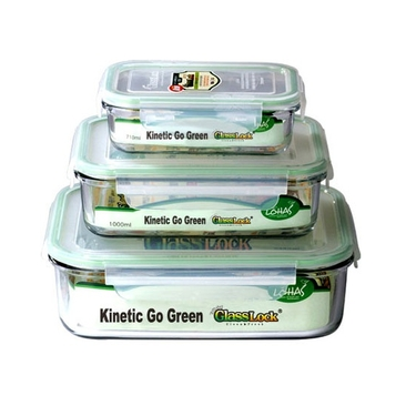 Go Green GlassLock 3 Piece Food Storage Set by Kinetic