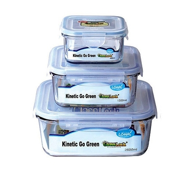 Go Green GlassLock 3 Piece Square Food Storage Set